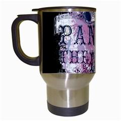 Panic At The Disco Art Travel Mugs (white) by Onesevenart