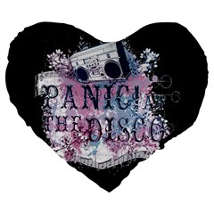 Panic At The Disco Art Large 19  Premium Heart Shape Cushions by Onesevenart