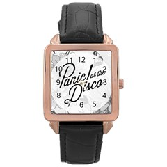 Panic At The Disco Flowers Rose Gold Leather Watch  by Onesevenart