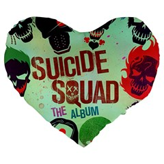 Panic! At The Disco Suicide Squad The Album Large 19  Premium Heart Shape Cushions by Onesevenart