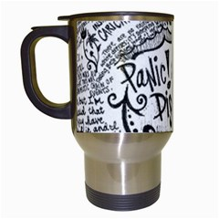 Panic! At The Disco Lyric Quotes Travel Mugs (white) by Onesevenart