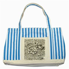 Panic! At The Disco Lyric Quotes Striped Blue Tote Bag by Onesevenart