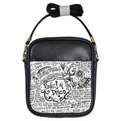 Panic! At The Disco Lyric Quotes Girls Sling Bags by Onesevenart