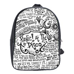 Panic! At The Disco Lyric Quotes School Bag (xl) by Onesevenart