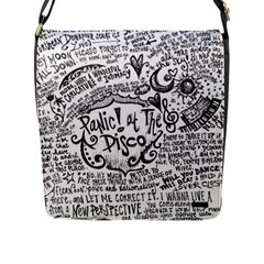 Panic! At The Disco Lyric Quotes Flap Messenger Bag (l)  by Onesevenart