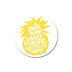 Cute Pineapple Yellow Fruite Magnet 3  (round) by Mariart