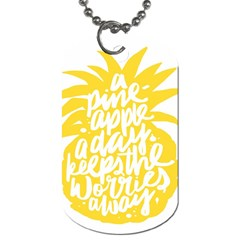Cute Pineapple Yellow Fruite Dog Tag (two Sides) by Mariart