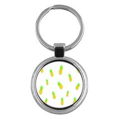 Cute Pineapple Fruite Yellow Green Key Chains (round)  by Mariart