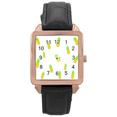 Cute Pineapple Fruite Yellow Green Rose Gold Leather Watch  by Mariart