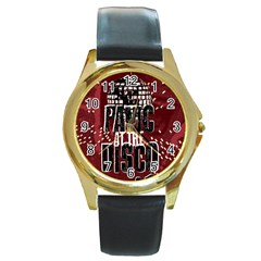 Panic At The Disco Poster Round Gold Metal Watch by Onesevenart