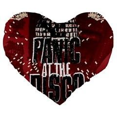 Panic At The Disco Poster Large 19  Premium Heart Shape Cushions by Onesevenart