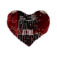 Panic At The Disco Poster Standard 16  Premium Flano Heart Shape Cushions by Onesevenart