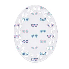 Cute Sexy Funny Sunglasses Kids Pink Blue Oval Filigree Ornament (two Sides) by Mariart