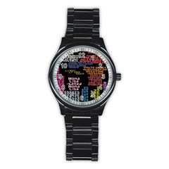 Panic At The Disco Northern Downpour Lyrics Metrolyrics Stainless Steel Round Watch by Onesevenart
