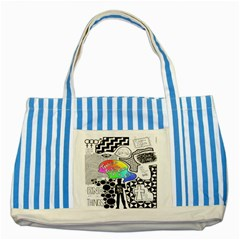 Panic ! At The Disco Striped Blue Tote Bag by Onesevenart