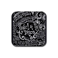Panic ! At The Disco Lyric Quotes Rubber Coaster (square)  by Onesevenart