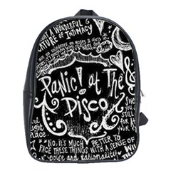 Panic ! At The Disco Lyric Quotes School Bag (large) by Onesevenart