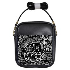 Panic ! At The Disco Lyric Quotes Girls Sling Bags by Onesevenart