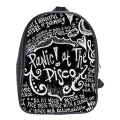 Panic ! At The Disco Lyric Quotes School Bag (xl) by Onesevenart