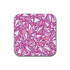 Conversational Triangles Pink White Rubber Coaster (square)  by Mariart