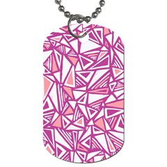 Conversational Triangles Pink White Dog Tag (two Sides) by Mariart