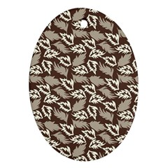 Dried Leaves Grey White Camuflage Summer Ornament (oval) by Mariart