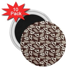 Dried Leaves Grey White Camuflage Summer 2 25  Magnets (10 Pack)  by Mariart