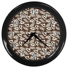 Dried Leaves Grey White Camuflage Summer Wall Clocks (black) by Mariart