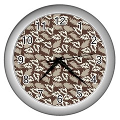 Dried Leaves Grey White Camuflage Summer Wall Clocks (silver)  by Mariart