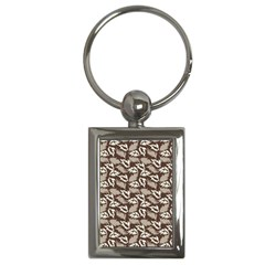 Dried Leaves Grey White Camuflage Summer Key Chains (rectangle)  by Mariart