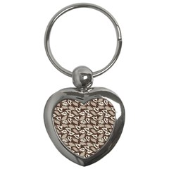 Dried Leaves Grey White Camuflage Summer Key Chains (heart)  by Mariart