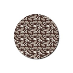 Dried Leaves Grey White Camuflage Summer Rubber Round Coaster (4 Pack)  by Mariart