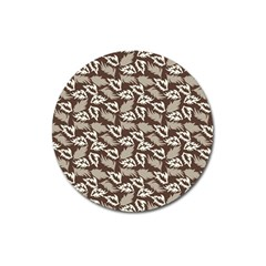 Dried Leaves Grey White Camuflage Summer Magnet 3  (round) by Mariart