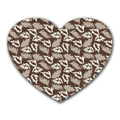 Dried Leaves Grey White Camuflage Summer Heart Mousepads by Mariart