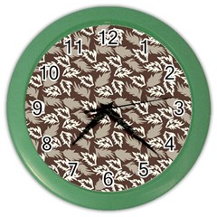 Dried Leaves Grey White Camuflage Summer Color Wall Clocks by Mariart