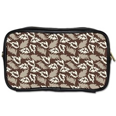 Dried Leaves Grey White Camuflage Summer Toiletries Bags by Mariart