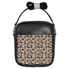 Dried Leaves Grey White Camuflage Summer Girls Sling Bags by Mariart