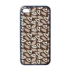 Dried Leaves Grey White Camuflage Summer Apple Iphone 4 Case (black) by Mariart