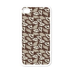 Dried Leaves Grey White Camuflage Summer Apple Iphone 4 Case (white) by Mariart