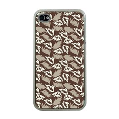 Dried Leaves Grey White Camuflage Summer Apple Iphone 4 Case (clear) by Mariart