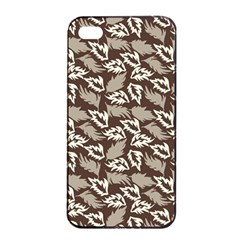 Dried Leaves Grey White Camuflage Summer Apple Iphone 4/4s Seamless Case (black) by Mariart