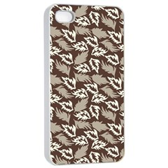 Dried Leaves Grey White Camuflage Summer Apple Iphone 4/4s Seamless Case (white) by Mariart
