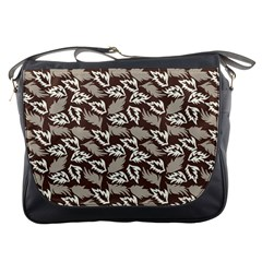 Dried Leaves Grey White Camuflage Summer Messenger Bags by Mariart