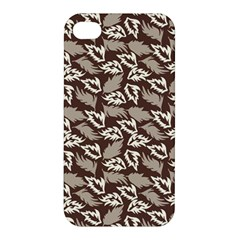 Dried Leaves Grey White Camuflage Summer Apple Iphone 4/4s Premium Hardshell Case by Mariart