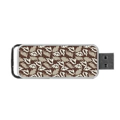 Dried Leaves Grey White Camuflage Summer Portable Usb Flash (one Side) by Mariart