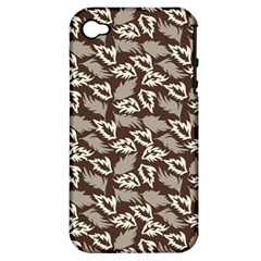 Dried Leaves Grey White Camuflage Summer Apple Iphone 4/4s Hardshell Case (pc+silicone) by Mariart