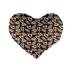 Dried Leaves Grey White Camuflage Summer Standard 16  Premium Heart Shape Cushions by Mariart