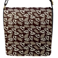 Dried Leaves Grey White Camuflage Summer Flap Messenger Bag (s) by Mariart