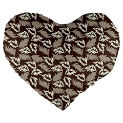 Dried Leaves Grey White Camuflage Summer Large 19  Premium Flano Heart Shape Cushions by Mariart