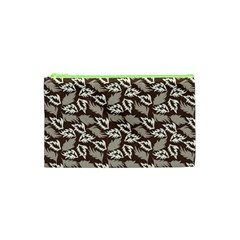 Dried Leaves Grey White Camuflage Summer Cosmetic Bag (xs) by Mariart